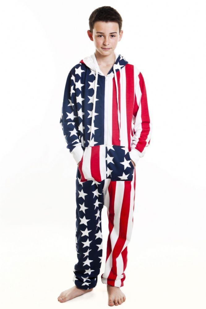 31cf98eea5 An All American USA STARS AND STRIPES Flag Print All In One Piece Suit  Jumpsuit Onesie With Chunky Zip Pockets Hood and Pull Strings The Children s