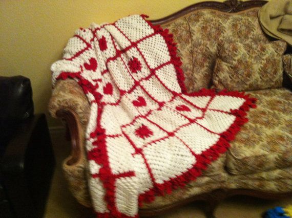 Hearts and Flowers Throw by CrochetSpecialForYou on Etsy, $125.00