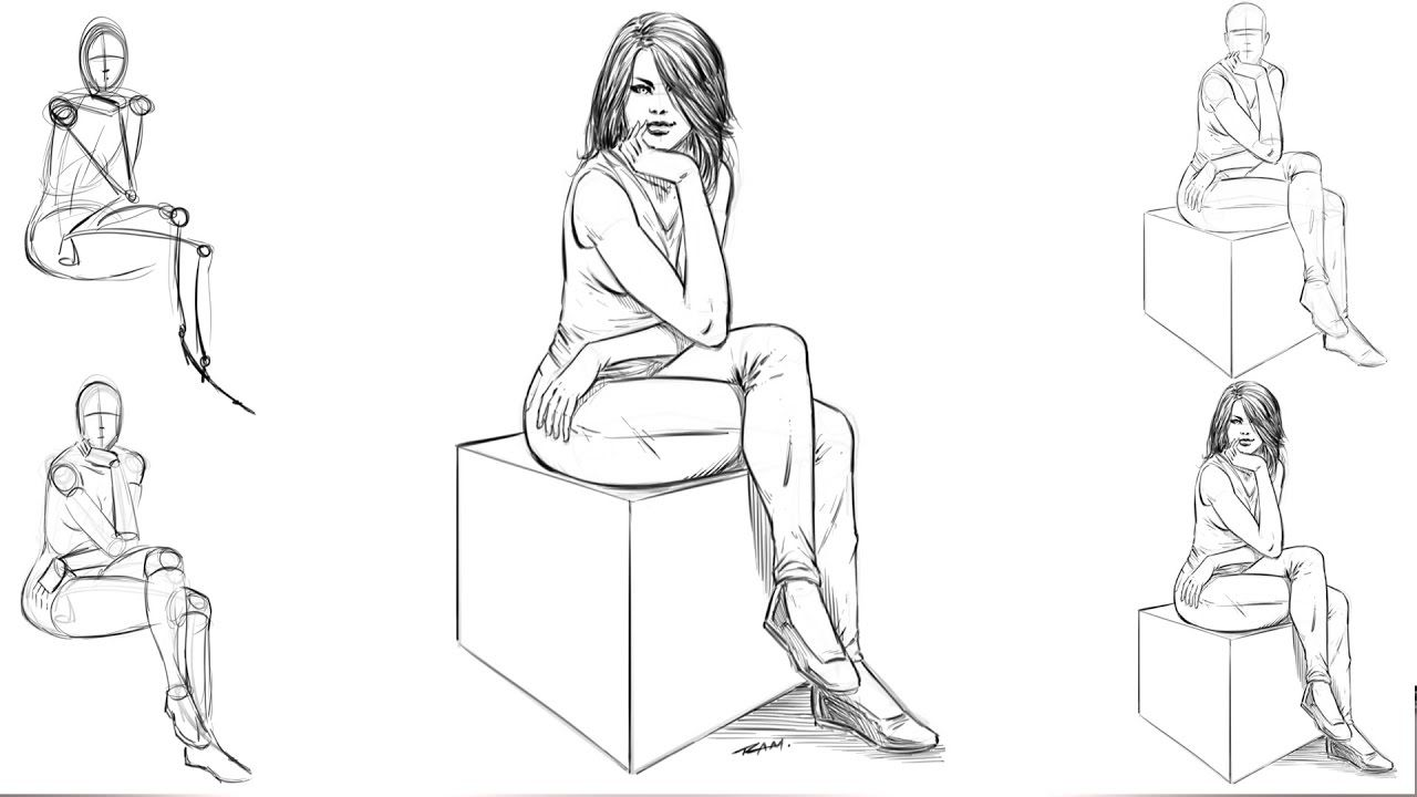 How To Draw A Woman Sitting Down Step By Step Sitting Poses