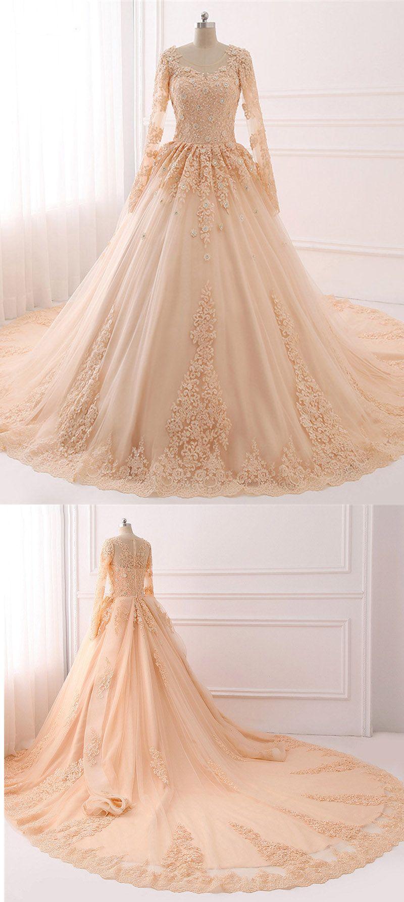 Champagne Vintage Wedding Dress Muslim Bridal Gown With Lace Wd687 Muslim Bridal Dresses Wedding Dress Muslim [ 1788 x 800 Pixel ]