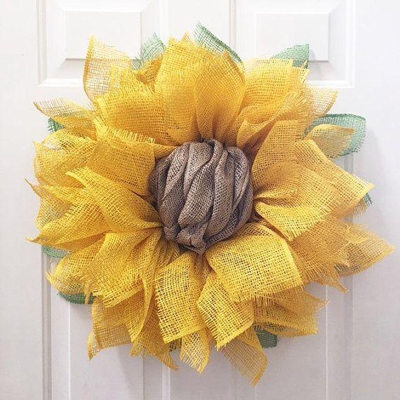 Photo of Sonnenblume Kranz, Sonnenblume Sackleinen Kranz, Sackleinen Sonnenblume Kranz, Frühlingskranz, Sonnenblume Dekor, Muttertagsgeschenk, Haustür Kränze – Home – Burlap wreath