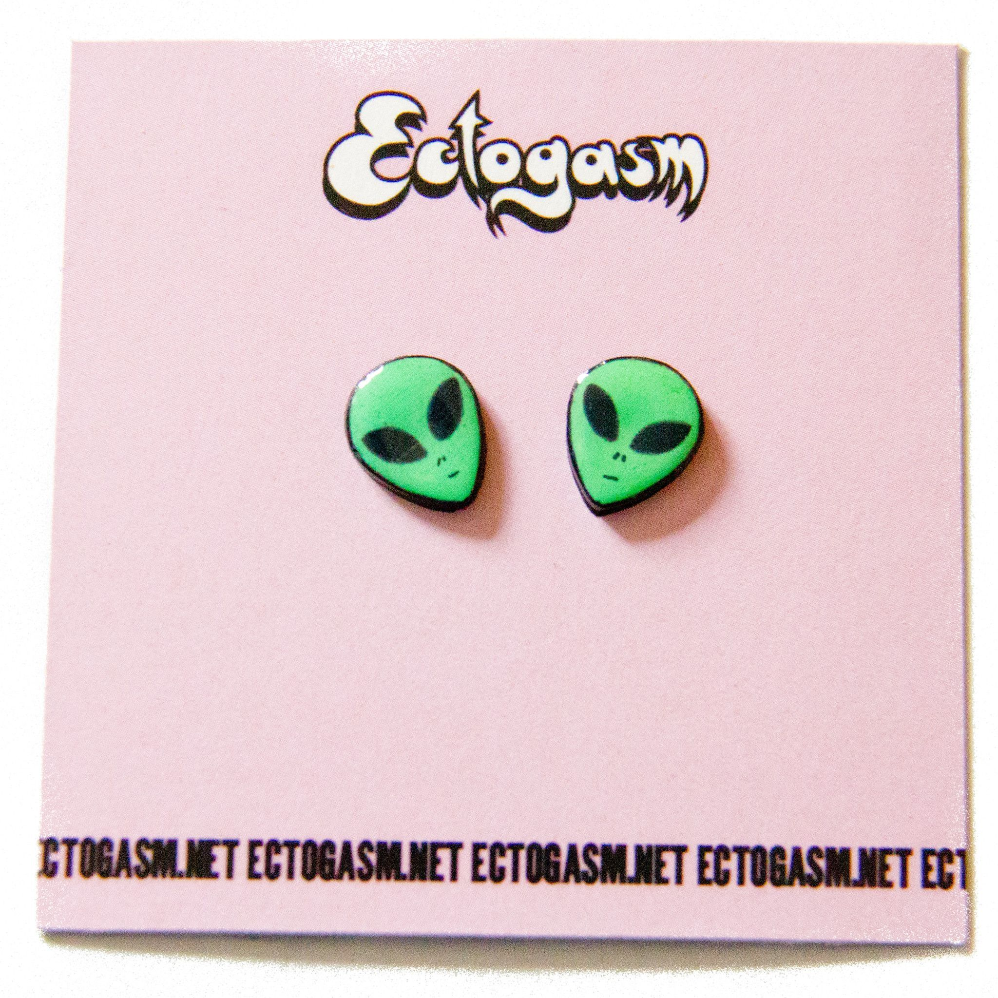 These Green Alien Stud Earrings Are A Perfect Addition To A Grunge Look  Their Findings