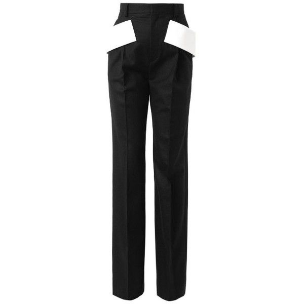 Givenchy Side-sash tailored trousers ($790) ❤ liked on Polyvore featuring pants, black white, trousers, wool trousers, evening pants, wide leg evening pants, givenchy and wide-leg pants