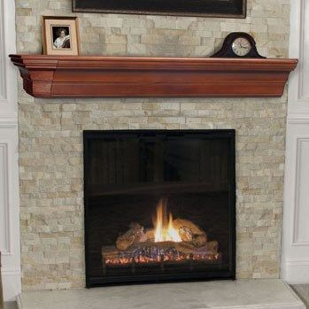 Pearl Mantels 490 48 70 Lindon 48 Wood Wall Shelf In Cherry Distressed Traditional Fireplace Mantel Fireplace
