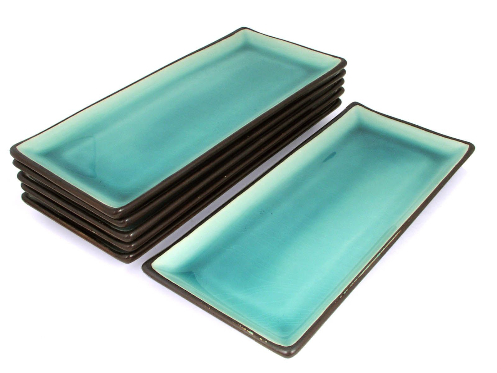 Tropical Teal Rectangular Plate Set Set Of 5 Plates Only)