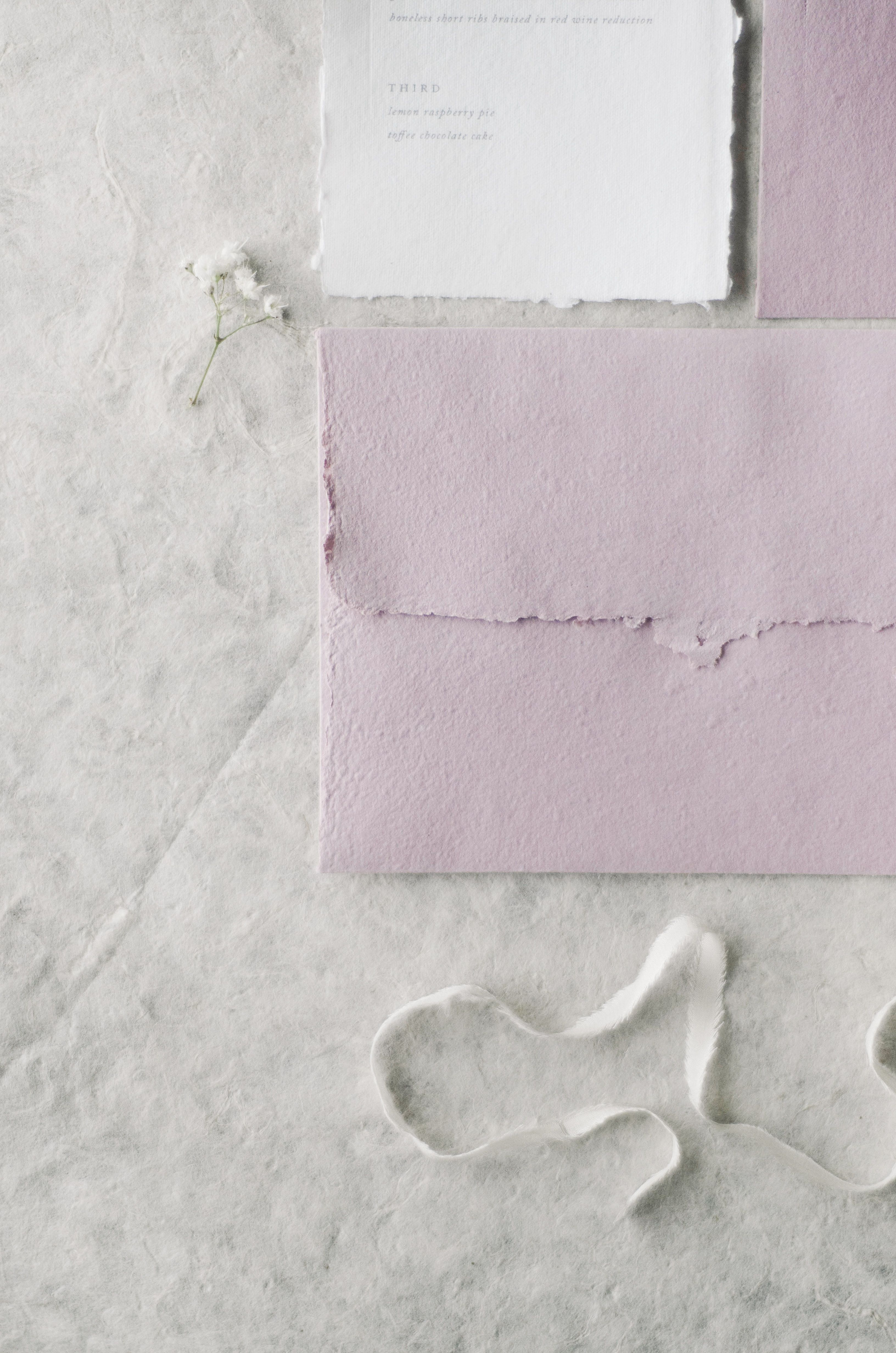Minimal Handmade Paper Wedding Invitations With Blind Deboss Menu