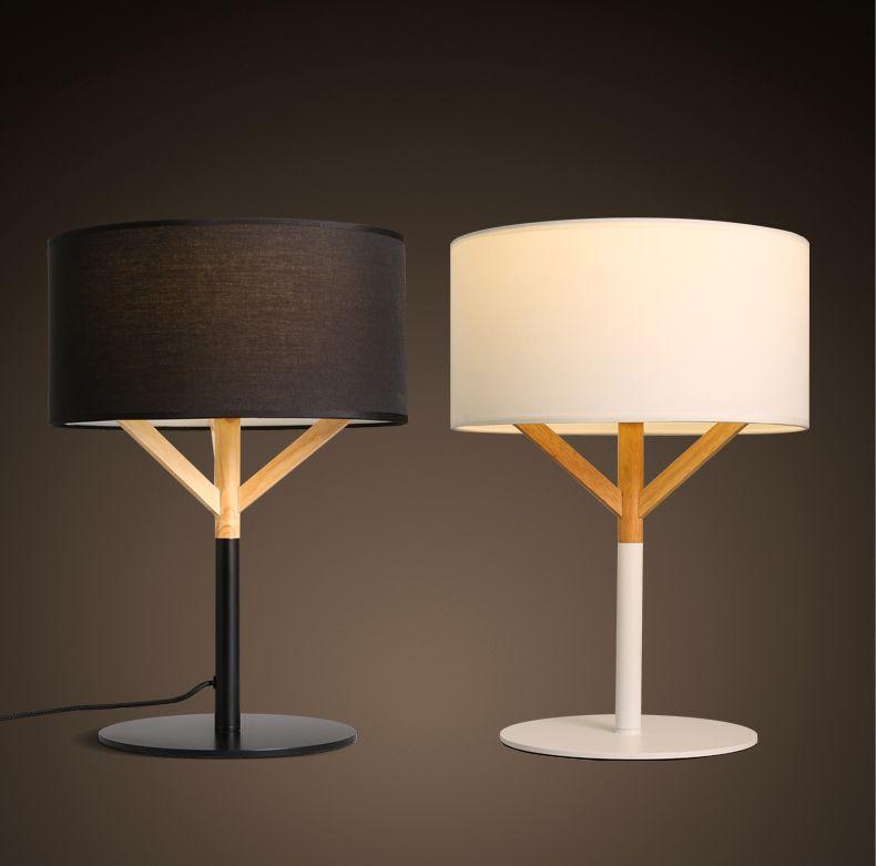 American Vintage Loft Style Black White Table Lamp Cloth Art