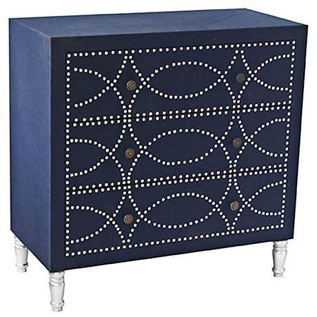 Best Crestview Cobalt Blue Fabric 3 Drawer Accent Chest Blue 400 x 300
