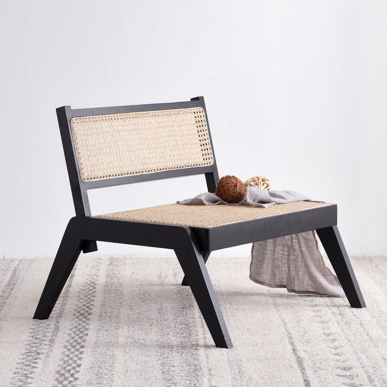 Pembroke Solid Wood Rattan Low Lounge Chair Black in 2020