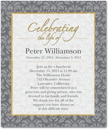 damask honor studio basics memorial invitations in charcoal