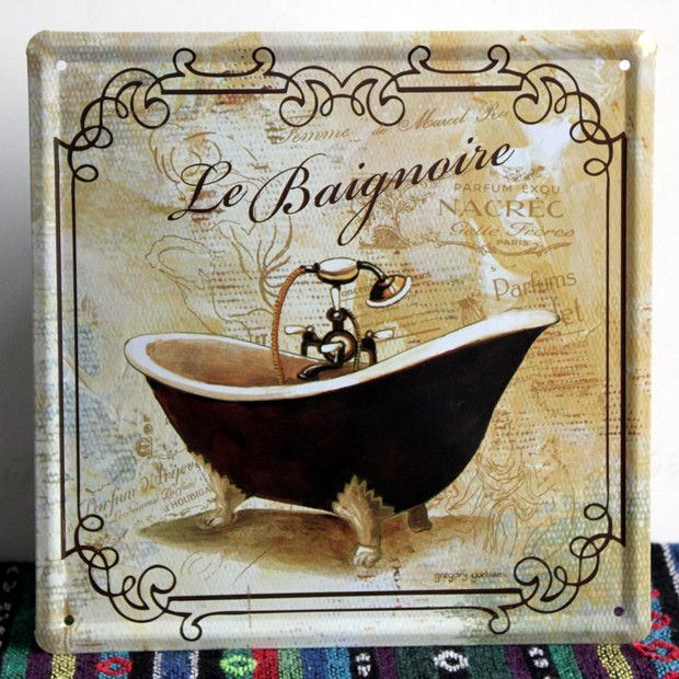 Fun Sign For The Bathroom! French Bathroom Painting Tin Sign Art Wall  Decoration House Cafe