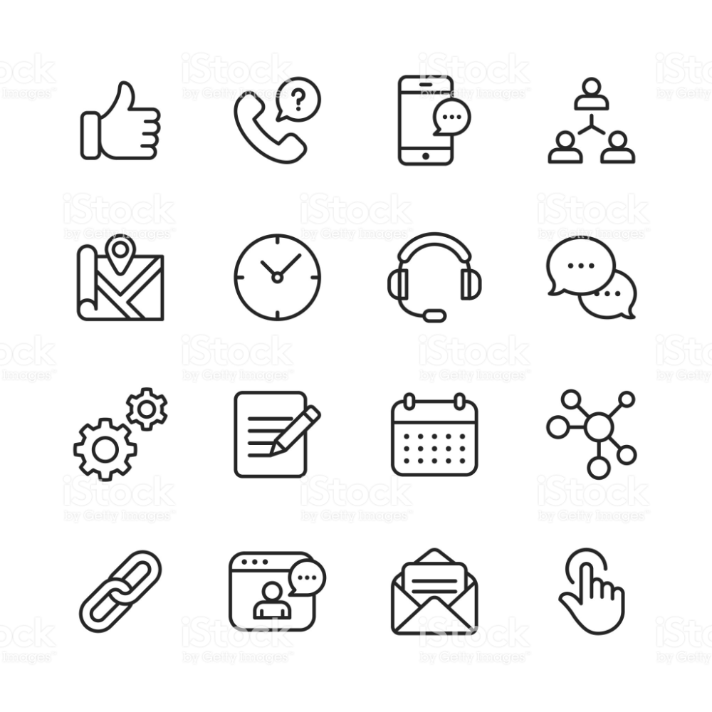 16 Contact Us Outline Icons In 2020 Line Icon Icon Royalty Free Icons