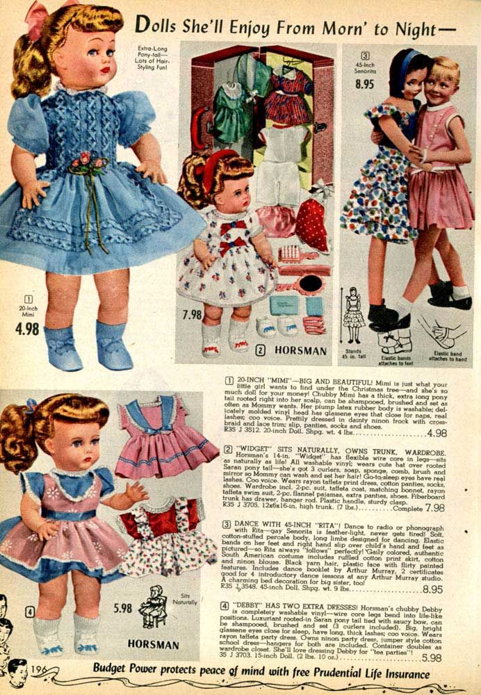 Vintage Baby Dolls from a 1955 Spiegel catalog | 1950s: Toys