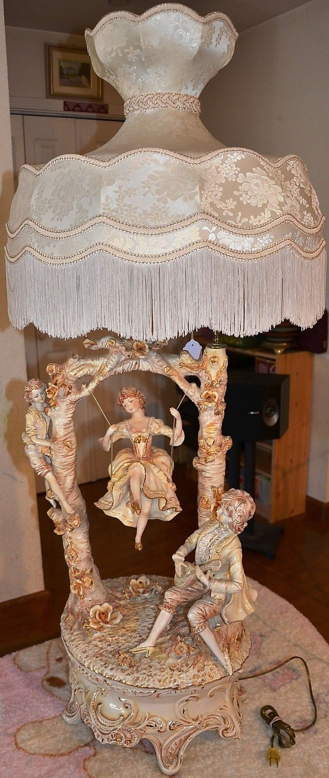 Antique porcelain table lamps - Capodimonte Continental Porcelain Figural Table Lamp Girl On A Swing Italy