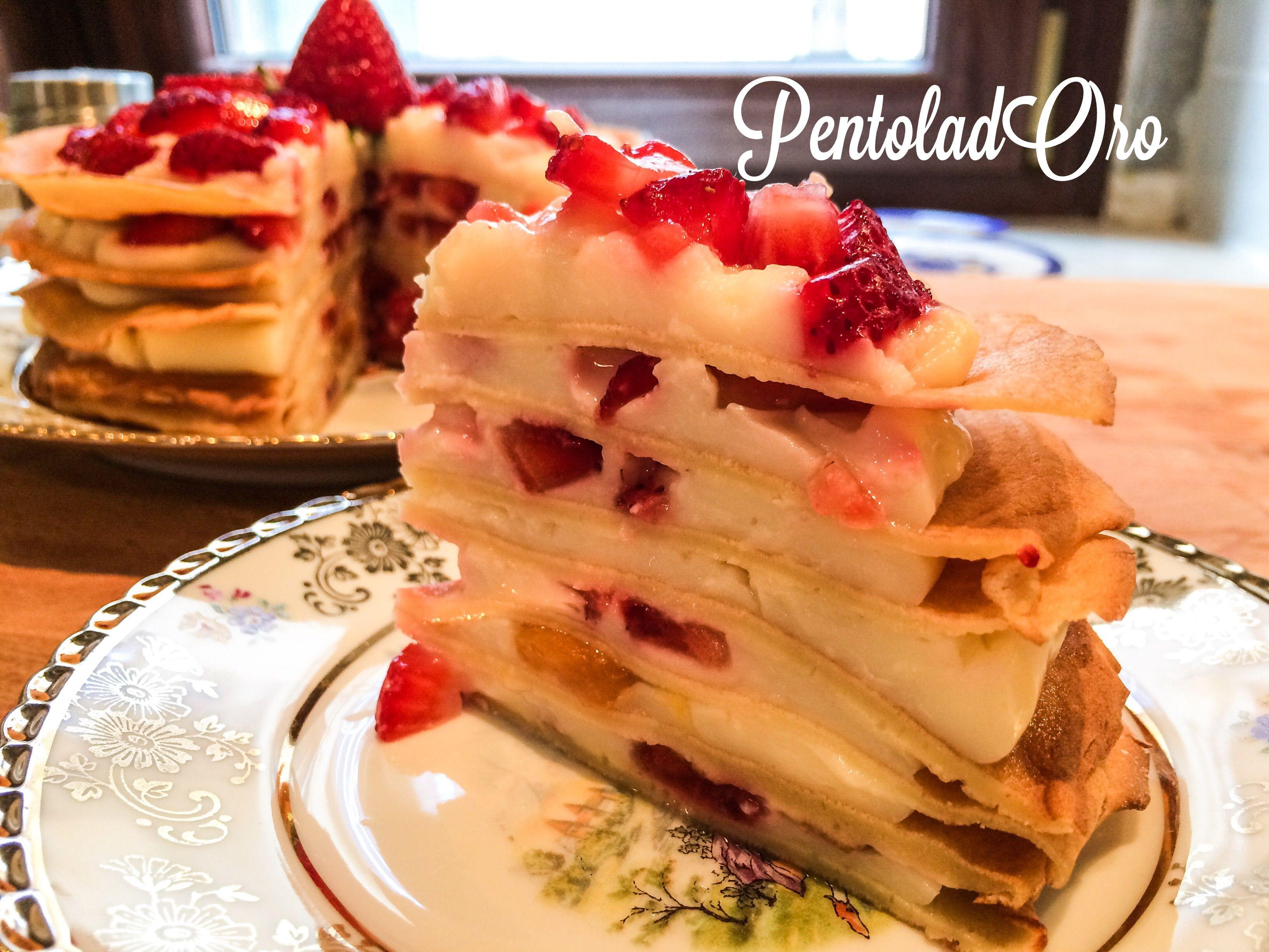 Una #torta fantastica :) realizzata con strati di #crepes farciti alla #crema con frutta fresca! http://blog.giallozafferano.it/pentoladoro/torta-di-crepes-alla-frutta/