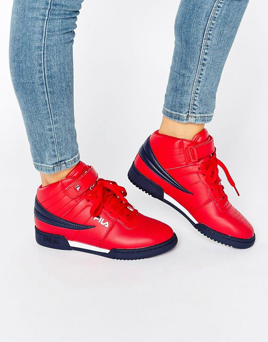 huge discount 4c4b8 268e5 Image 1 of Fila F-13 Mid Sneakers In Red