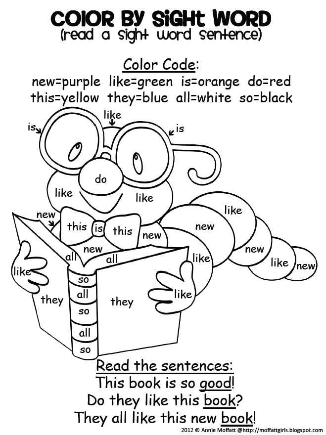 Color by sight word and read the sight word sentence! How ...