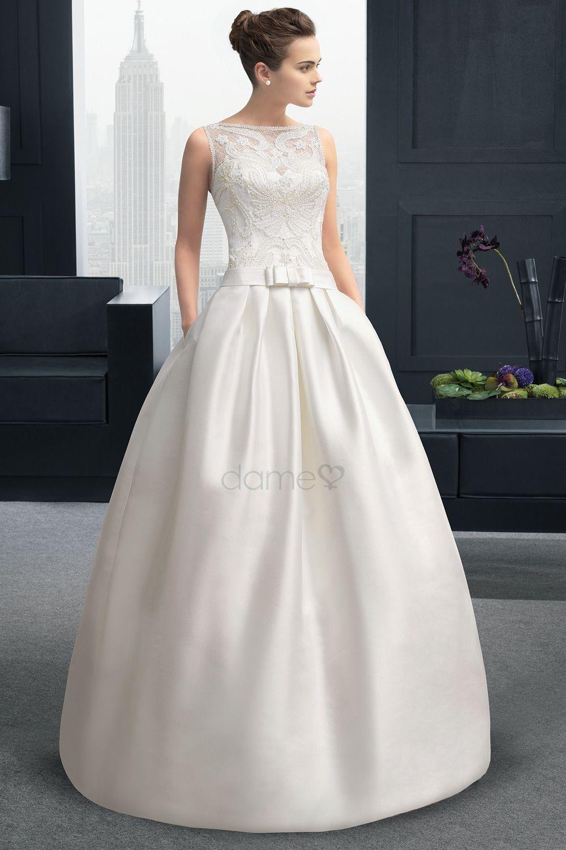 Sexy Horizontale Hals A-Linie Spitze Brautkleid   Hochzeitskleid ...