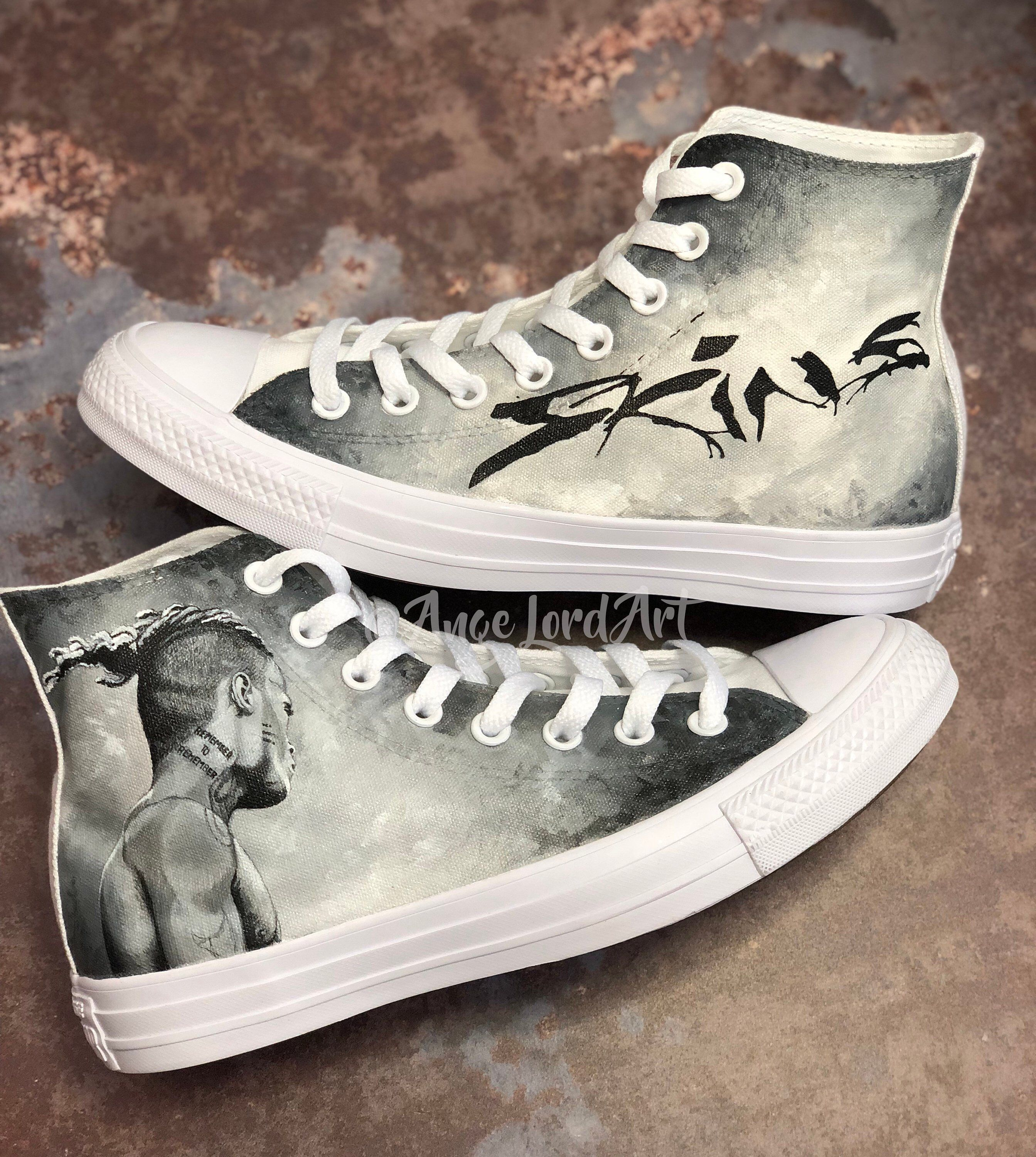 c0f5c9a6cf23 Excited to share this item from my  etsy shop  Custom Painted XXXTentacion  Skins Tribute inspired Converse Hi Tops Vans shoes sneakers. Custom shoes Advance  ...