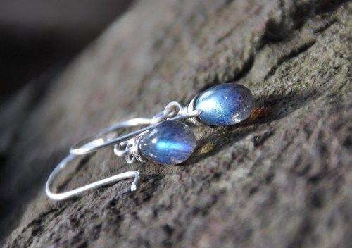 Blue Fire Labradorite Drop Dangle Earrings, Sterling Silver, Gemstone, Semi-precious, Stocking Stuffer | maggiesjewelry