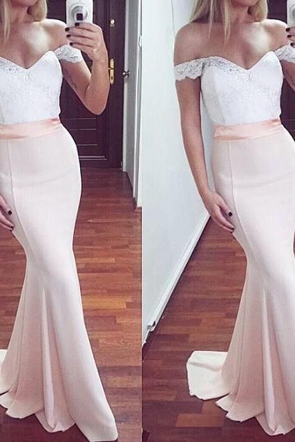 65c011dc9 Pretty Off Shoulder Long Mermaid Prom Dresses,Pearl Pink Lace Prom Dress,Elegant  Prom Gowns