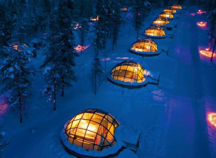 Igloo's in Finland for viewing the Northern lights