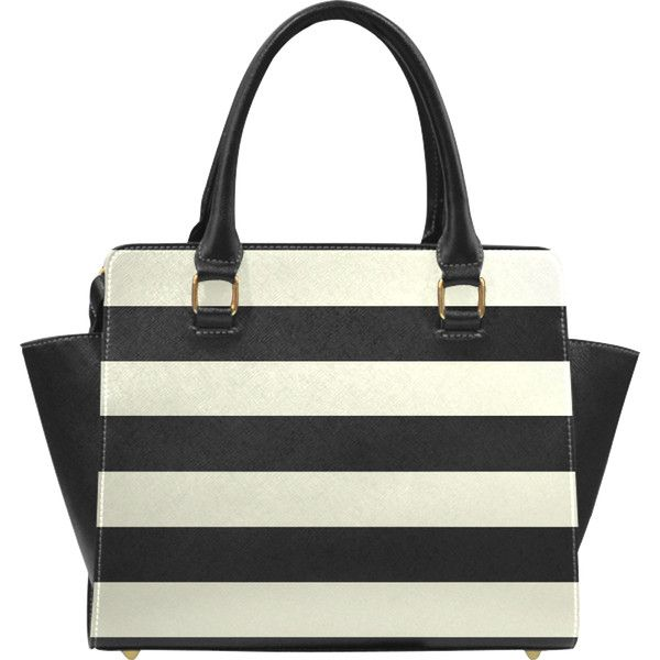 Black Beige Horizontal Stripes Classic Shoulder Handbag Model 1653 44 Liked On Polyvore Featuring Bags Handbags Stripe