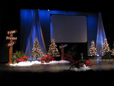 Fabric Backdrop Again Lighting Makes A Significant Difference But This Is Helpful To Visu Christmas Stage Design Christmas Stage Decorations Christmas Stage