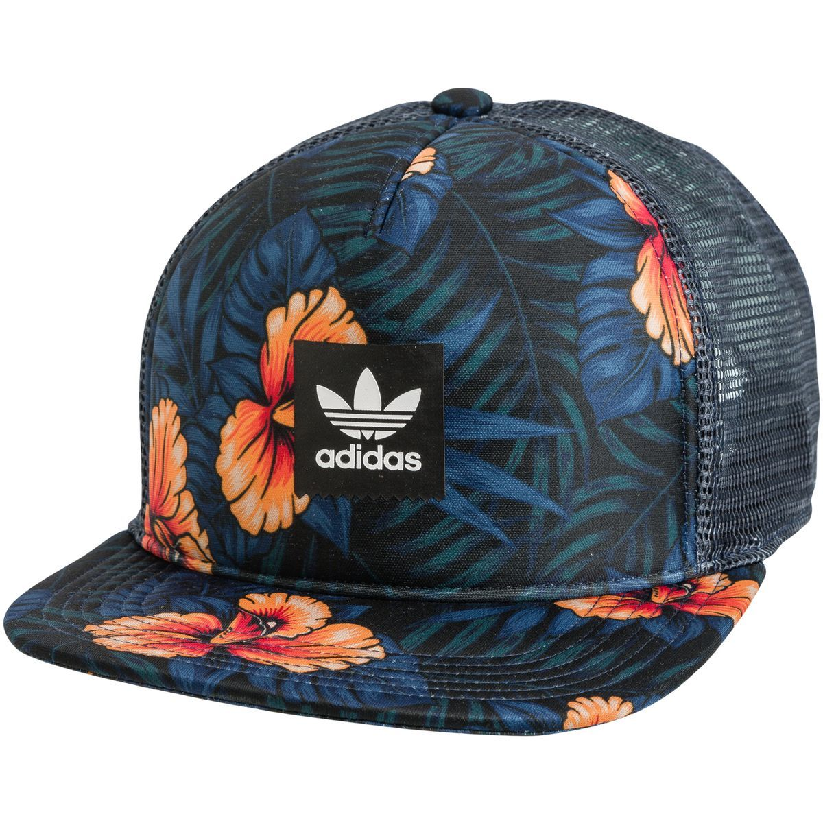 65f77f319cbb11 Adidas Floral Trucker Hat. Men s trucker caps. Snapback closure. Logo patch  at front panel. Cotton front panel and mesh back panels. Allover floral  pattern.