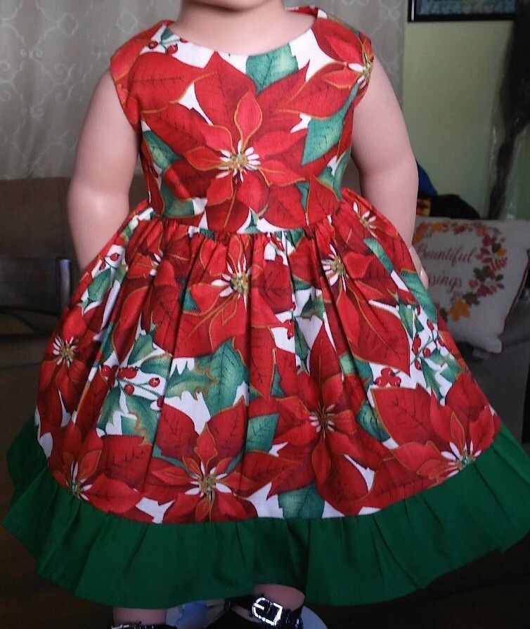 Doll Clothes/Handmade/18 Inches/American Girl Dolls/Poinsettia and Green Dress. #Handmade