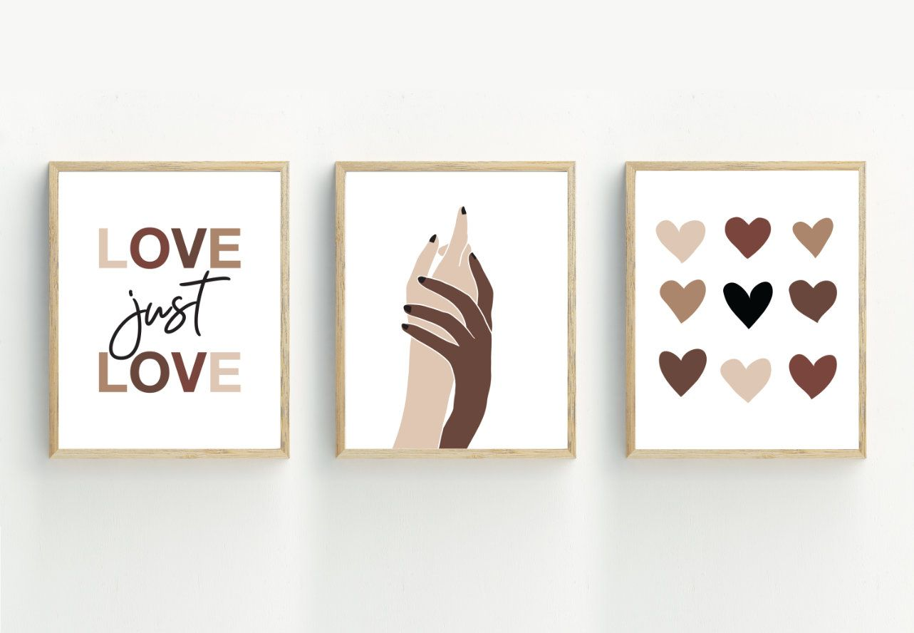 Hands Art Print Set Of 3 Equality Prints Diversity Wall Art Etsy Hand Art Etsy Wall Art Art Print Set