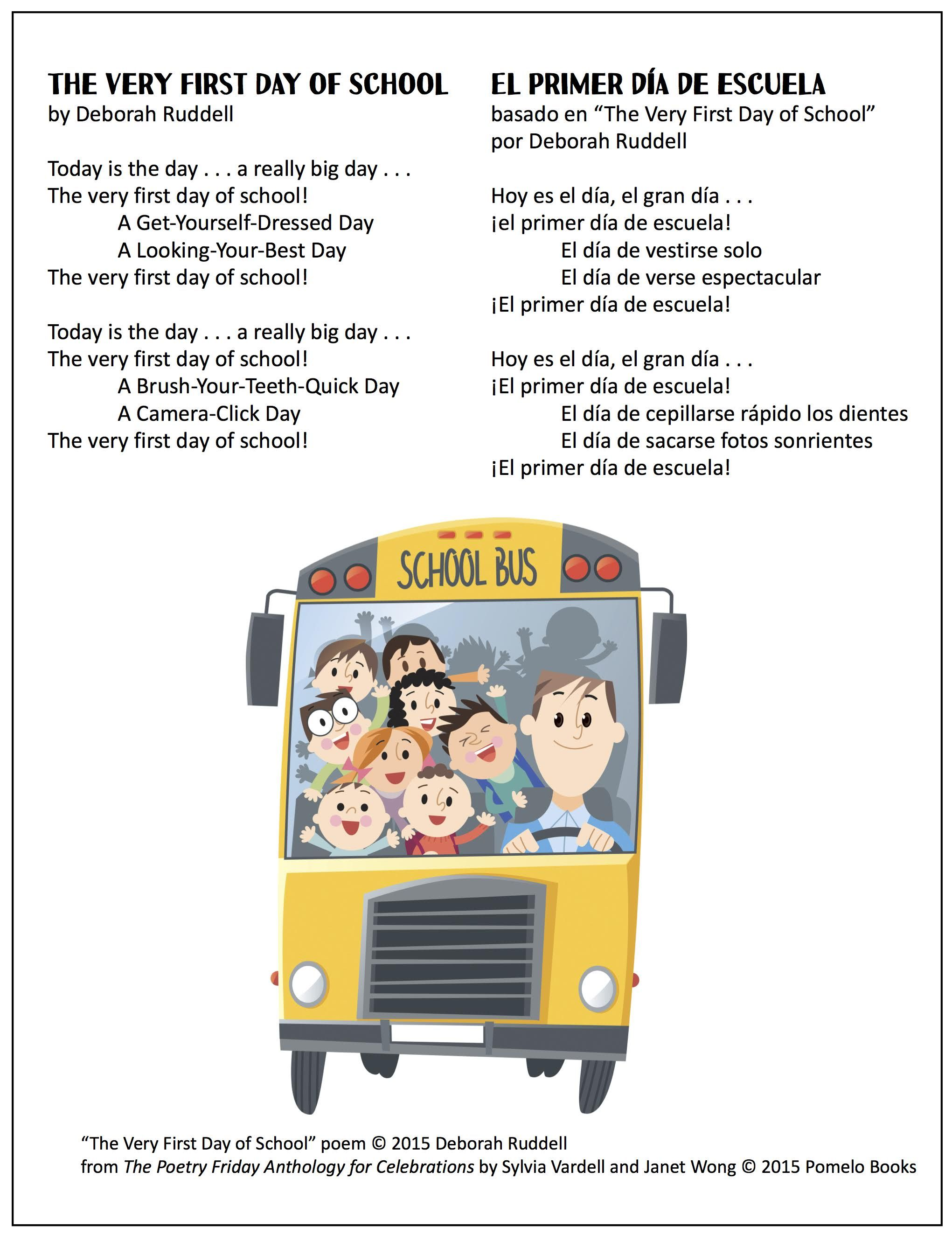 Getting ready for a new school year? Share this poem in English or ...