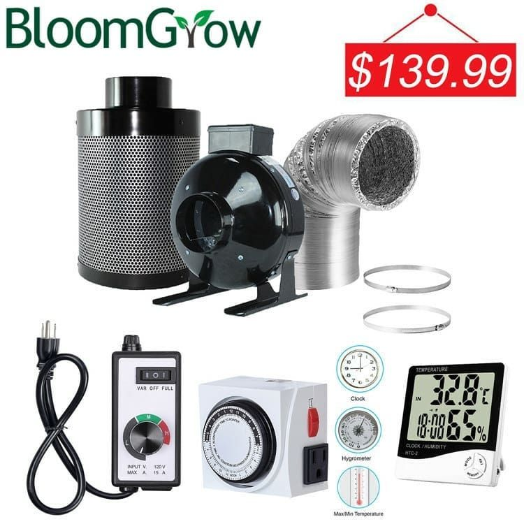 Bloomgrow 4 Inline Fan Carbon Filter Ducting Combo Fan Speed Controller 24 Hour Timer Outlet Thermometer Ventilation System For Grow Tent Kit Fulfille Tarim