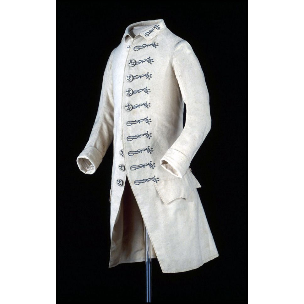 """1765 Frock Coat. White tabby weave wool, fulled, napped and shorn (broadcloth), embroidered with silver threads, bullion, and sequins; lined with twill worsted """"shalloon"""" and cotton/linen napped twill """"fustian."""" Colonial Williamsburg 1964-32,1."""