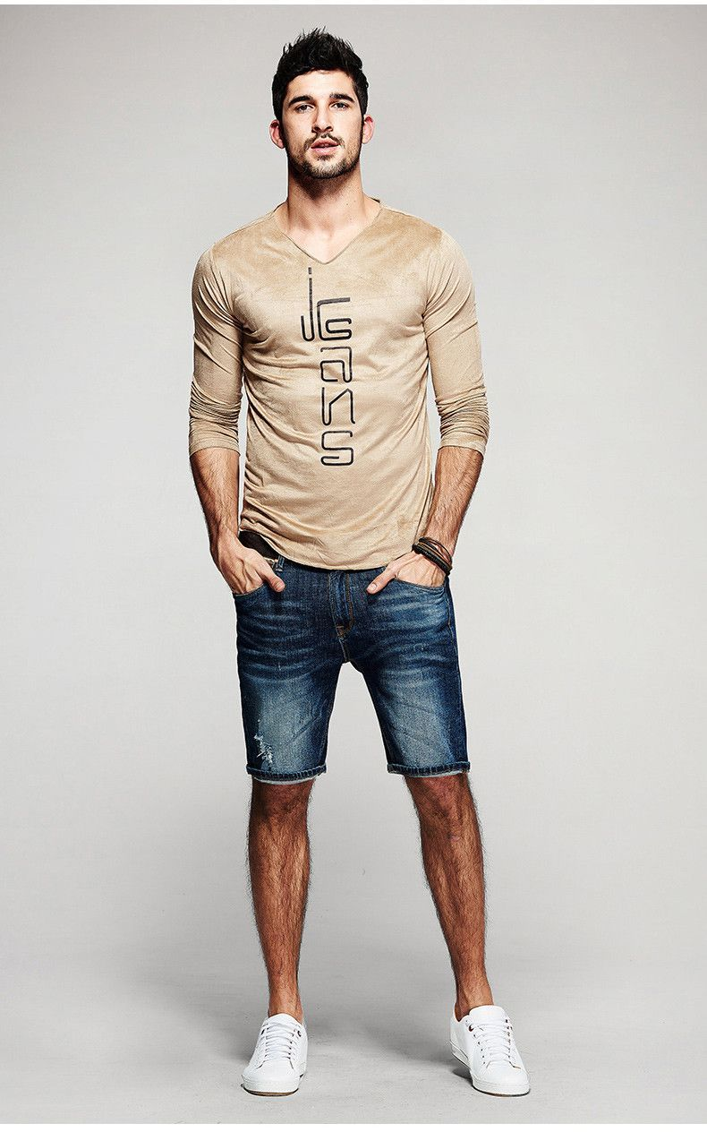 D Cipher Long Sleeve V Neck John Style Fashion Mens Casual T