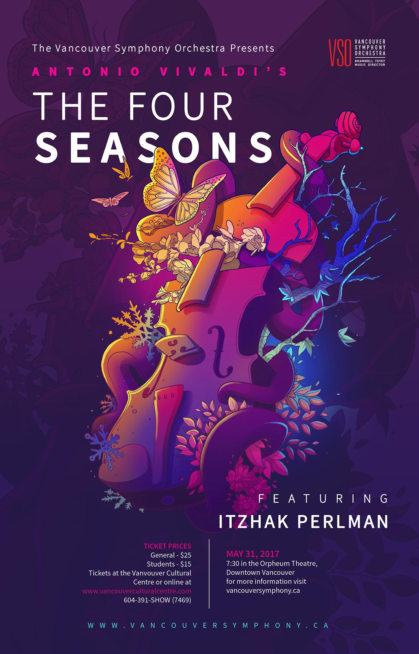 Vivaldi S The Four Seasons Concert Poster Illustration On Behance Concert Poster Design Music Poster Design Graphic Design Posters