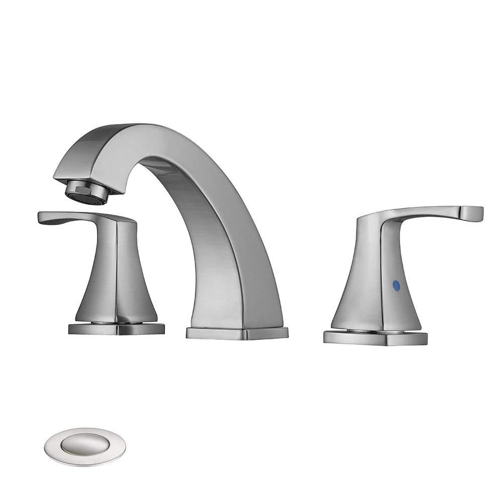 Silver 8 In Widespread Three Hole 2 Handle Bathroom Faucet With
