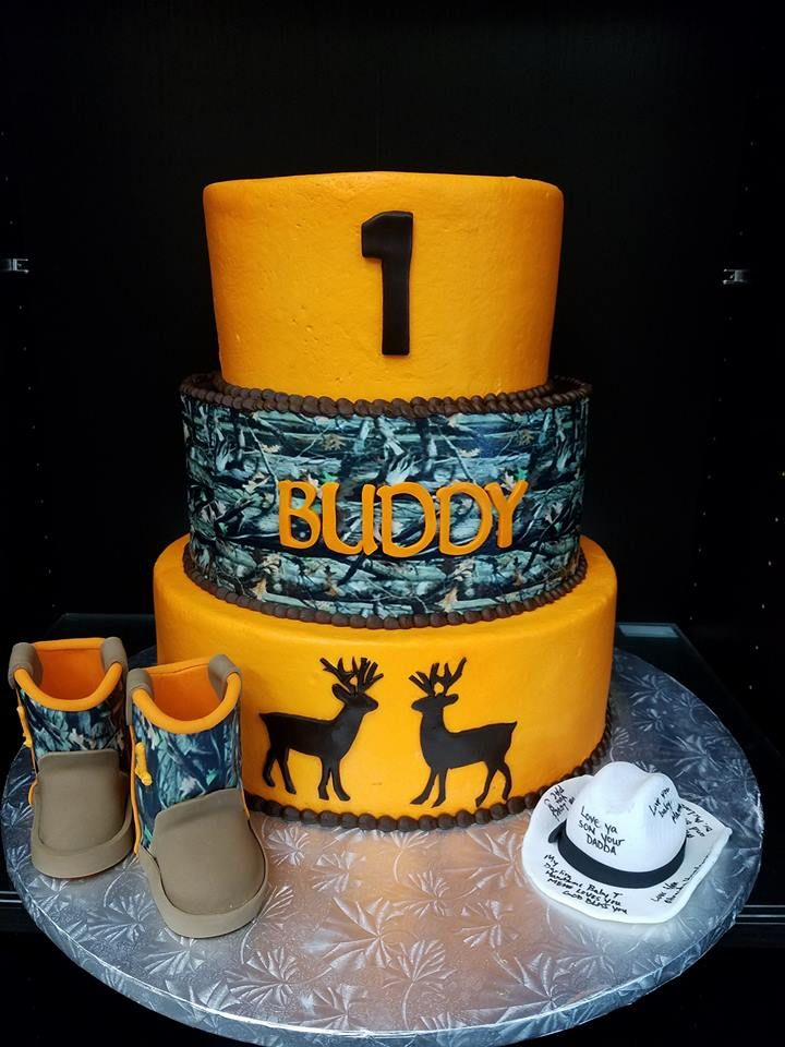 Camo and Hunting First Birthday Cake for Buddy First Birthday