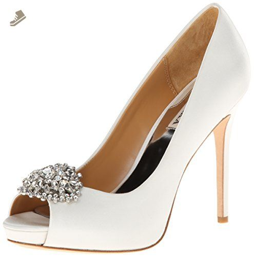 7e97cb533c85c Badgley Mischka Women's Jeannie Platform Pump,White,7.5 M US ...