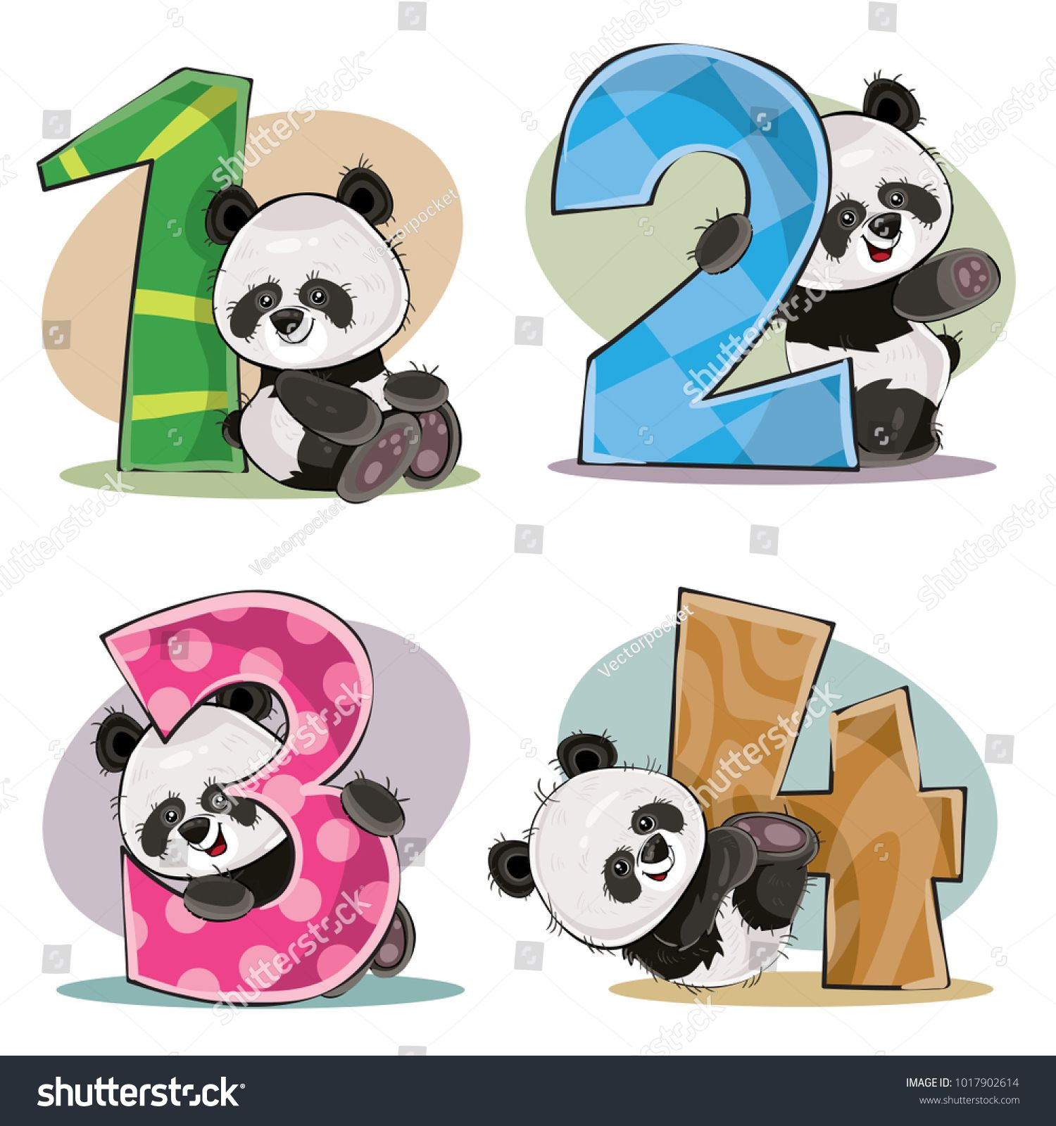 fb27de036e Set of cute baby panda bears with numbers vector cartoon illustration.  Clipart for greeting card