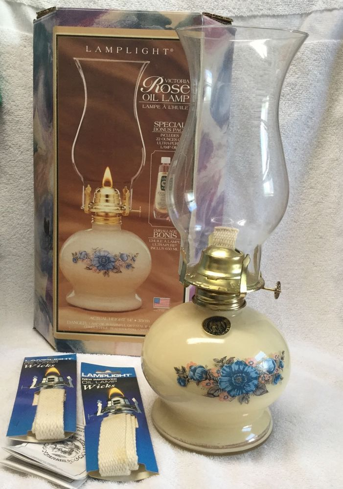 Lamplight Farms Victoria Rose Oil Table Lamp USA Retro 14 in Cream Blue Floral | eBay