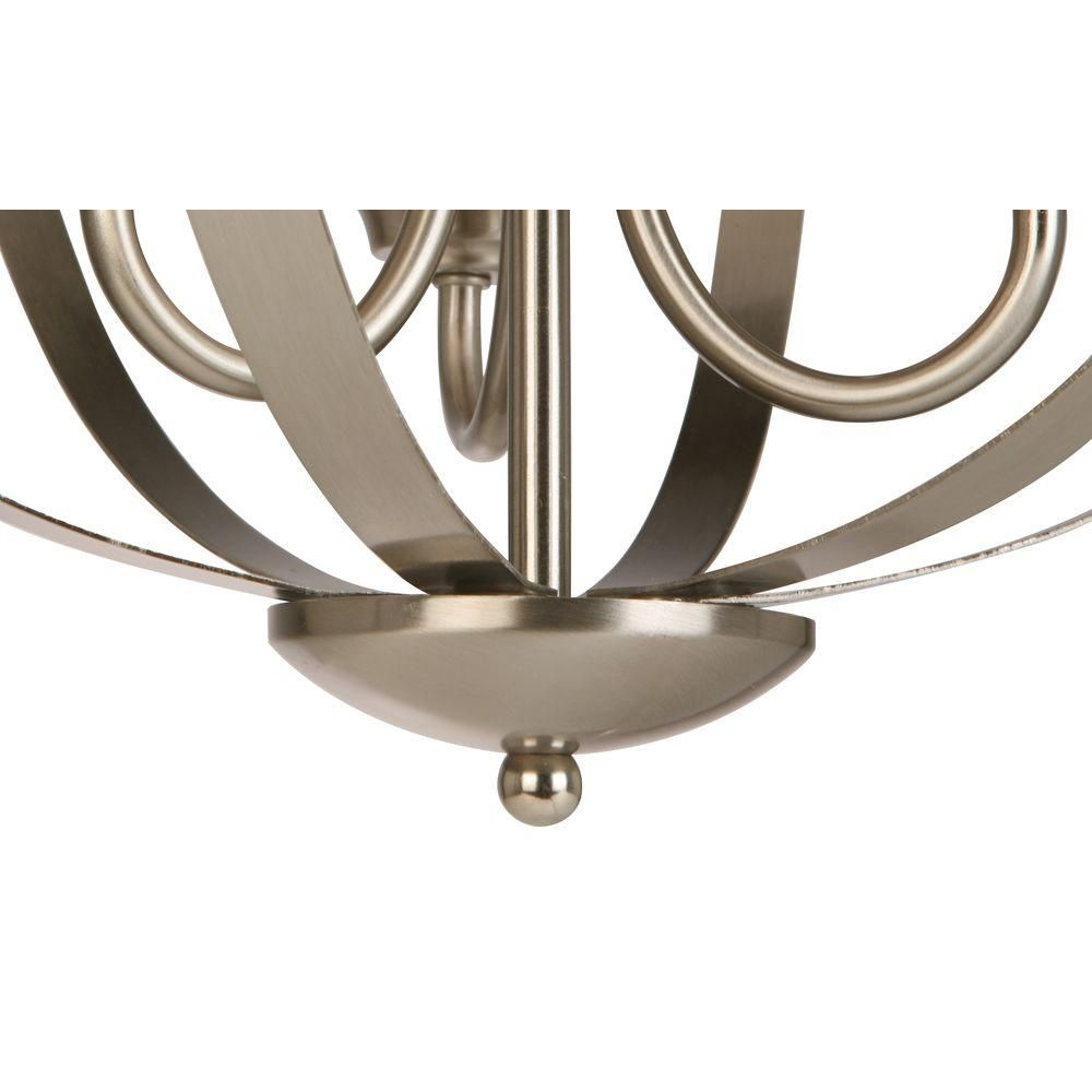 Hampton Bay 3 Light Brushed Nickel Chandelier With Etched White