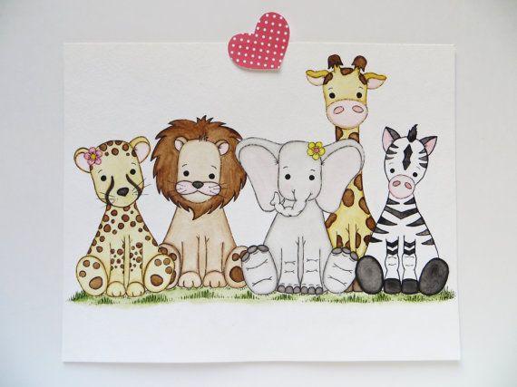 Watercolor Painting Baby Safari Animals Original Painting Kids