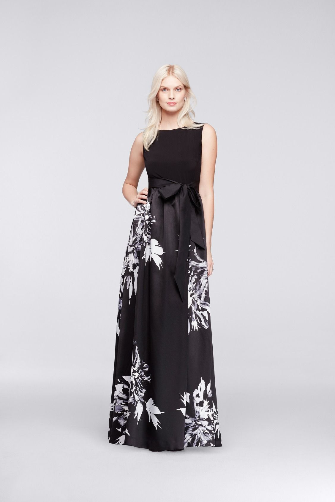 Long ALine Bold Printed Floral Mother of the Bride Dress