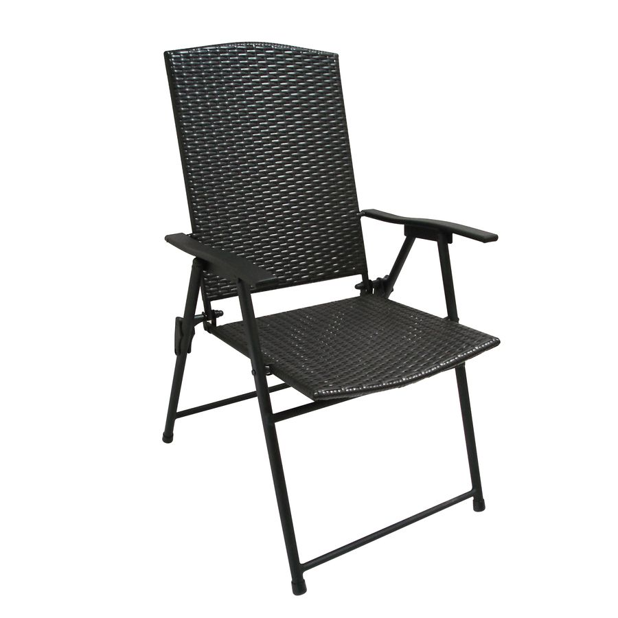 Foldable Patio Chairs Garden Treasures Brown Steel Folding Patio Conversation Chair
