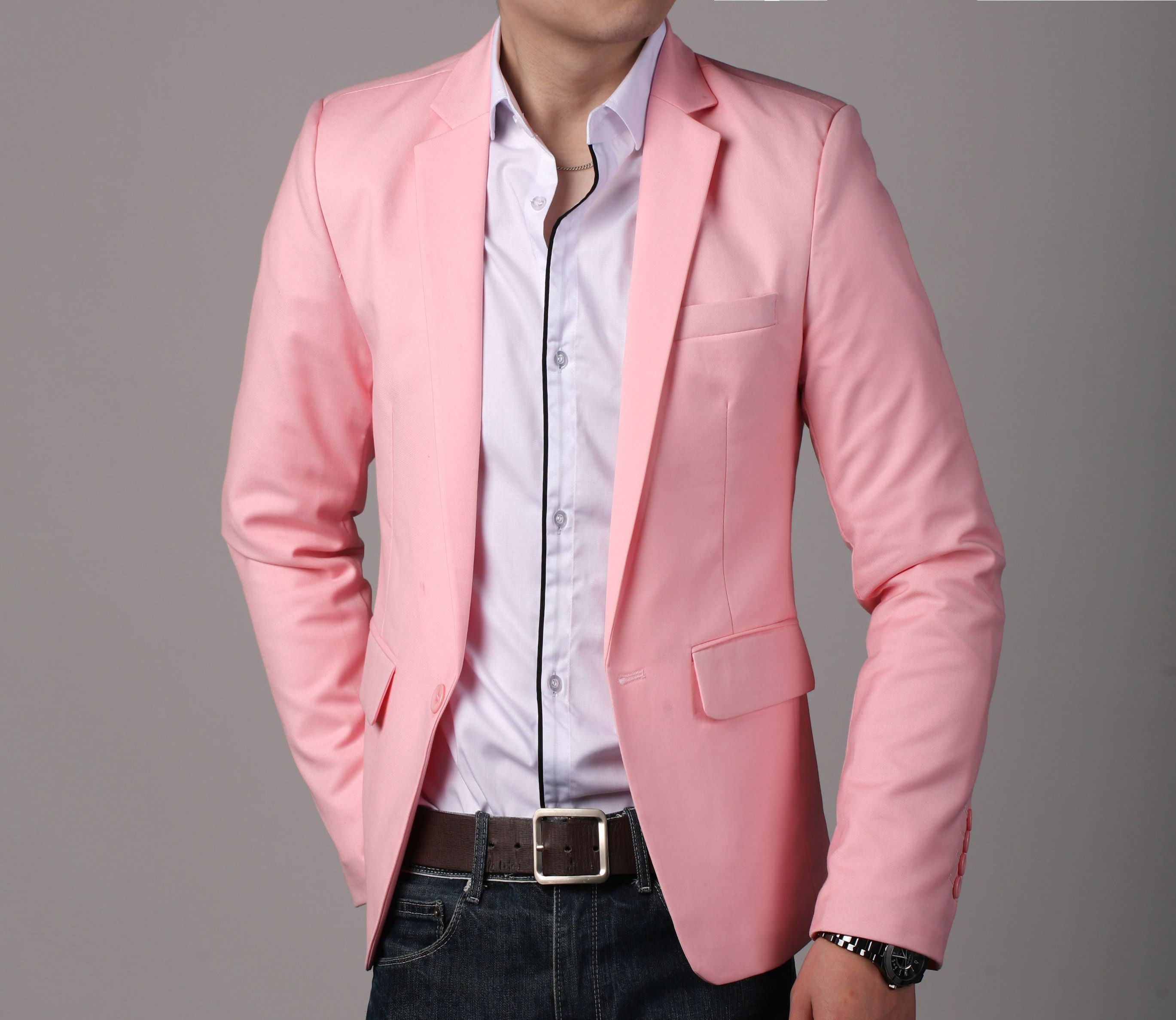 2013 Men's Slim Fit blazer Black Coat Fashion One button Pink ...