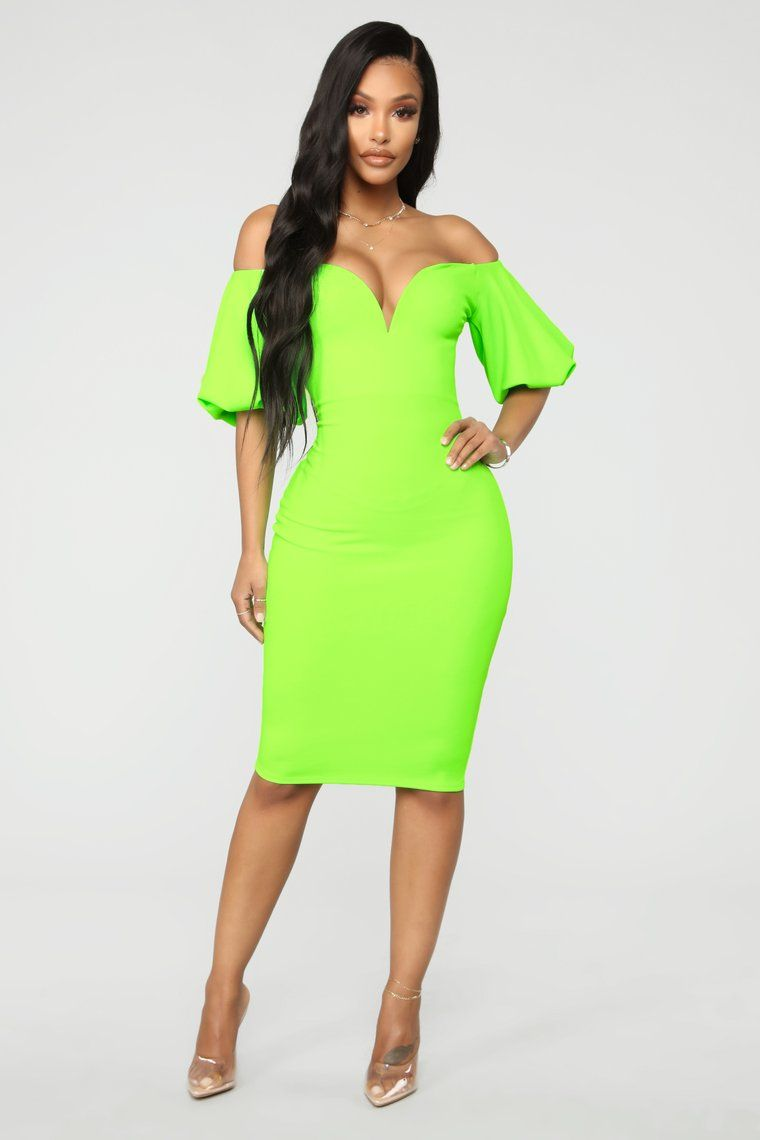 c6614e0c17 Pop Bubble Sleeve Dress - Neon Green in 2019 | wishlist