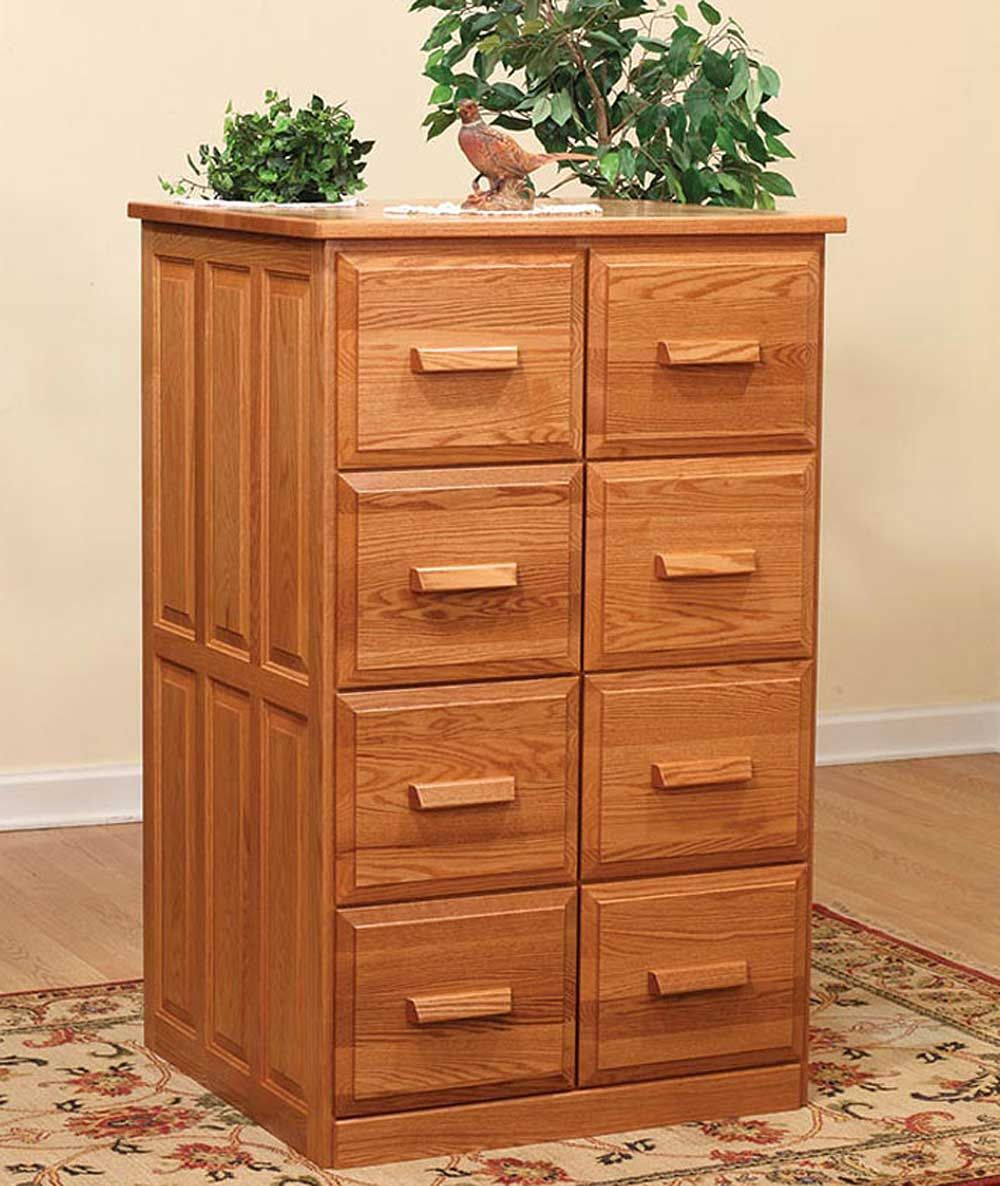 Amish Furniture Double Wooden Vertical Filing Cabinet Ample