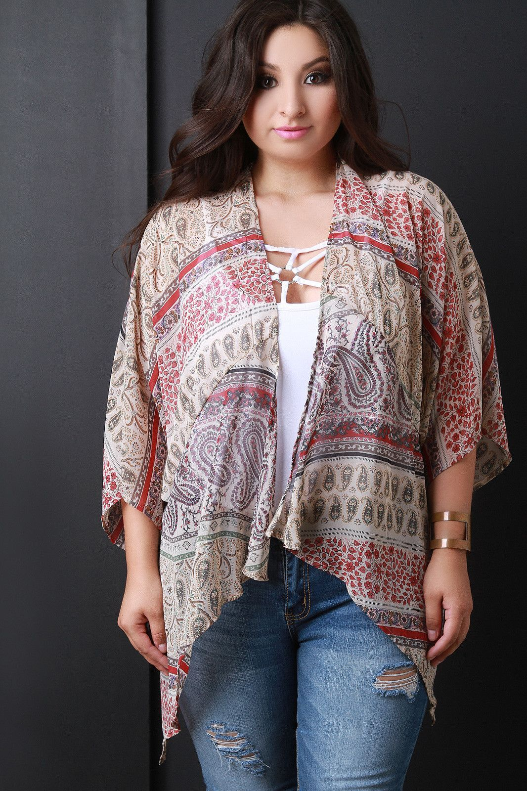 Boho Paisley Chiffon Open Front Cardigan | Products | Pinterest ...
