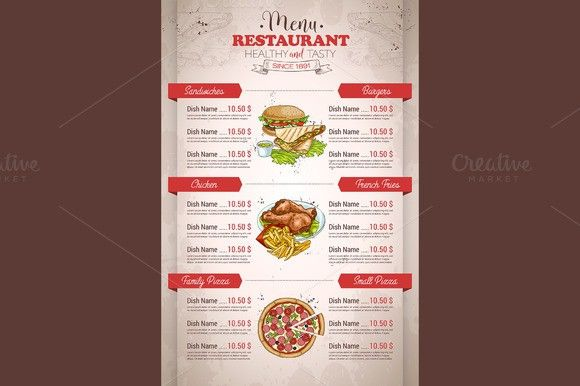 restaurant vertical color menu menu retro background and template